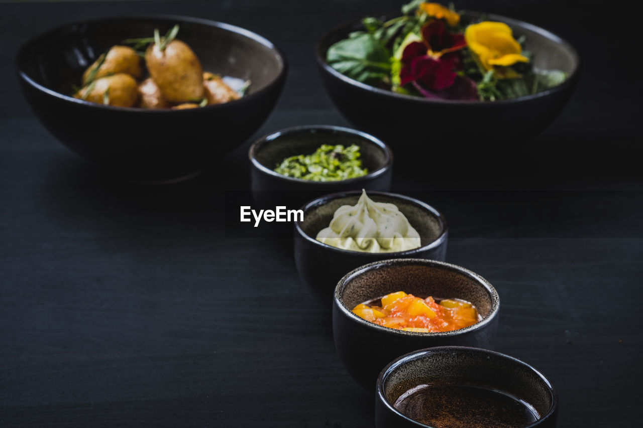 bowl, food, food and drink, healthy eating, freshness, wellbeing, table, vegetable, ready-to-eat, indoors, serving size, asian food, no people, still life, close-up, high angle view, meal, focus on foreground, variation, choice, japanese food