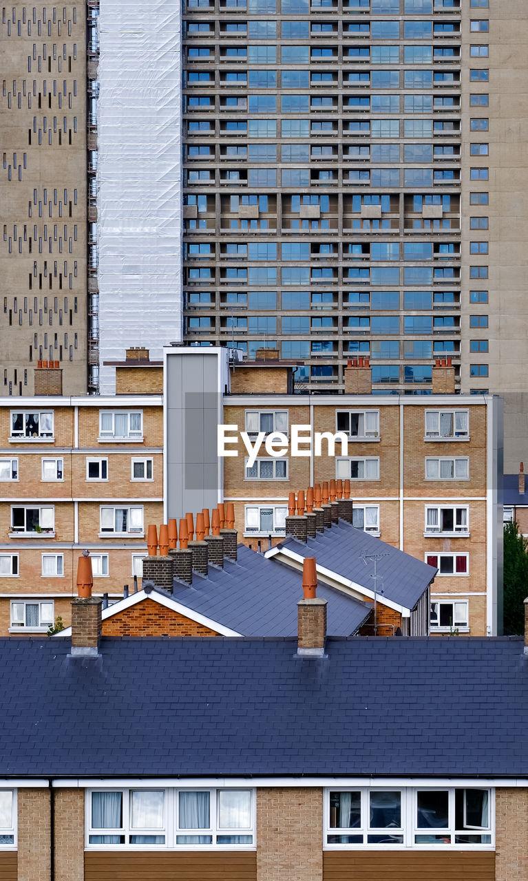 Chimneys on buildings in city