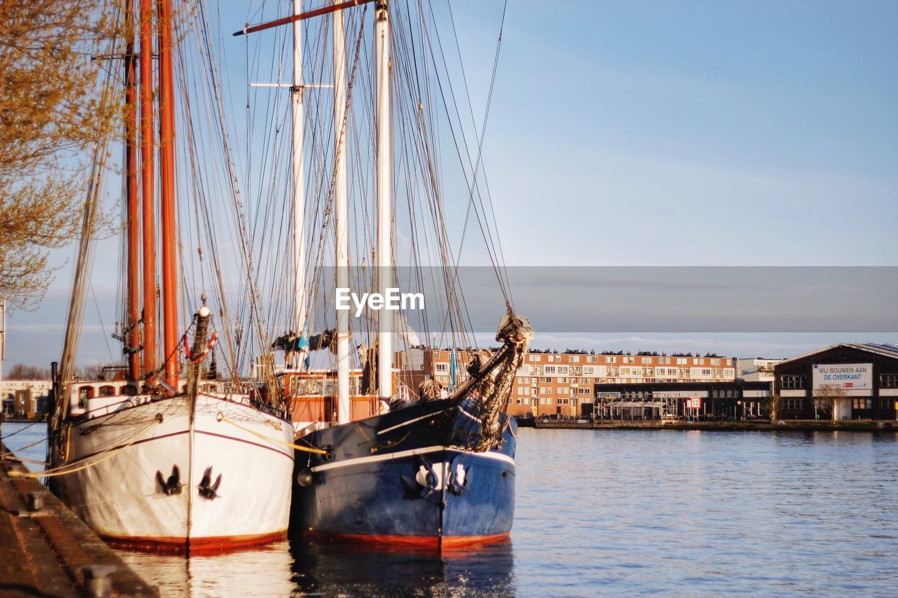 nautical vessel, water, mode of transportation, transportation, sky, architecture, built structure, sailboat, moored, nature, sea, pole, no people, building exterior, waterfront, mast, travel, day, ship, outdoors