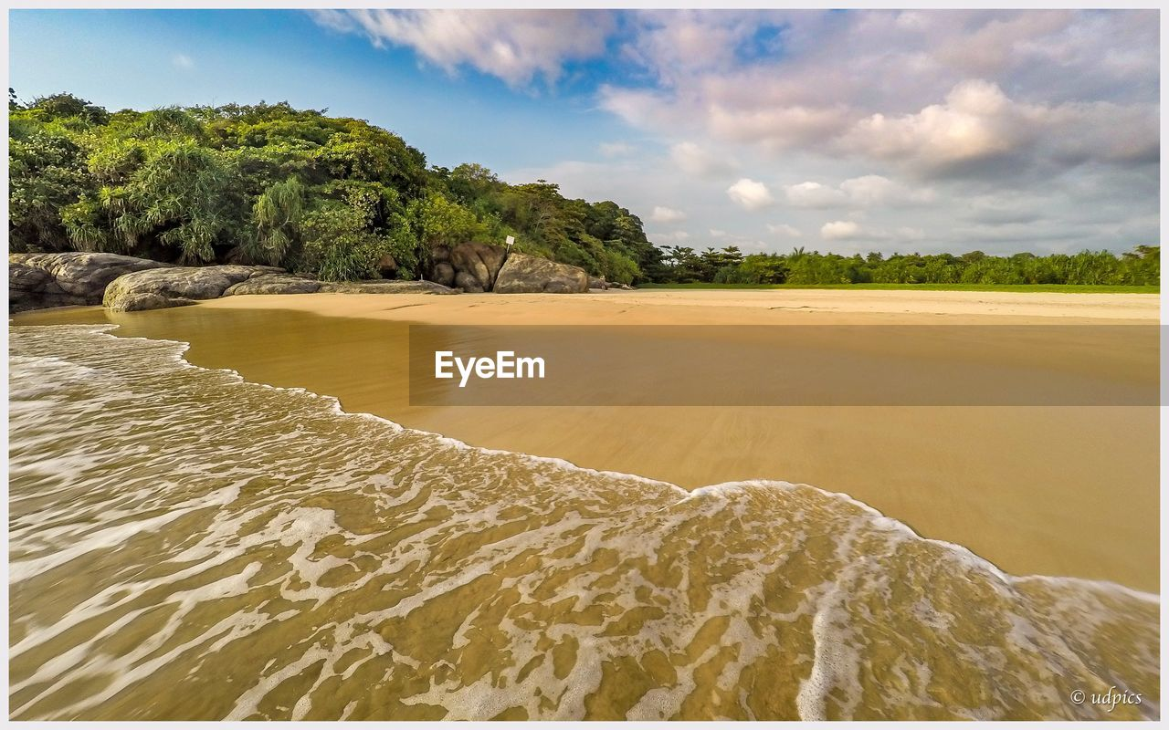 sky, cloud - sky, land, water, sand, beauty in nature, tree, tranquil scene, scenics - nature, tranquility, plant, beach, nature, sea, day, transfer print, no people, auto post production filter, idyllic, outdoors