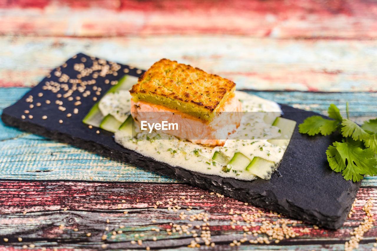 CLOSE-UP OF DESSERT SERVED ON PLATE