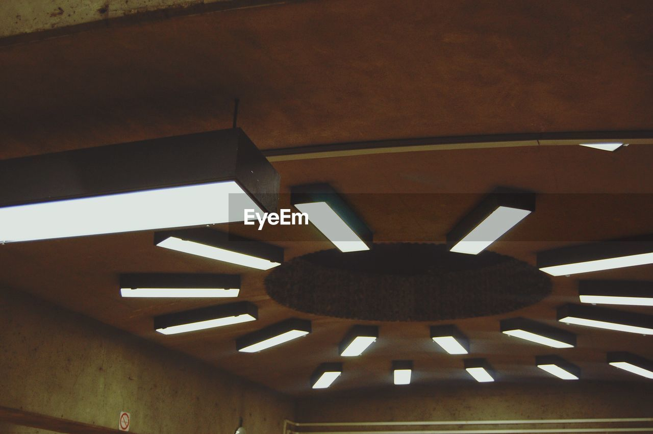 indoors, ceiling, wood - material, low angle view, no people, built structure, home interior, architecture, close-up, day, clock