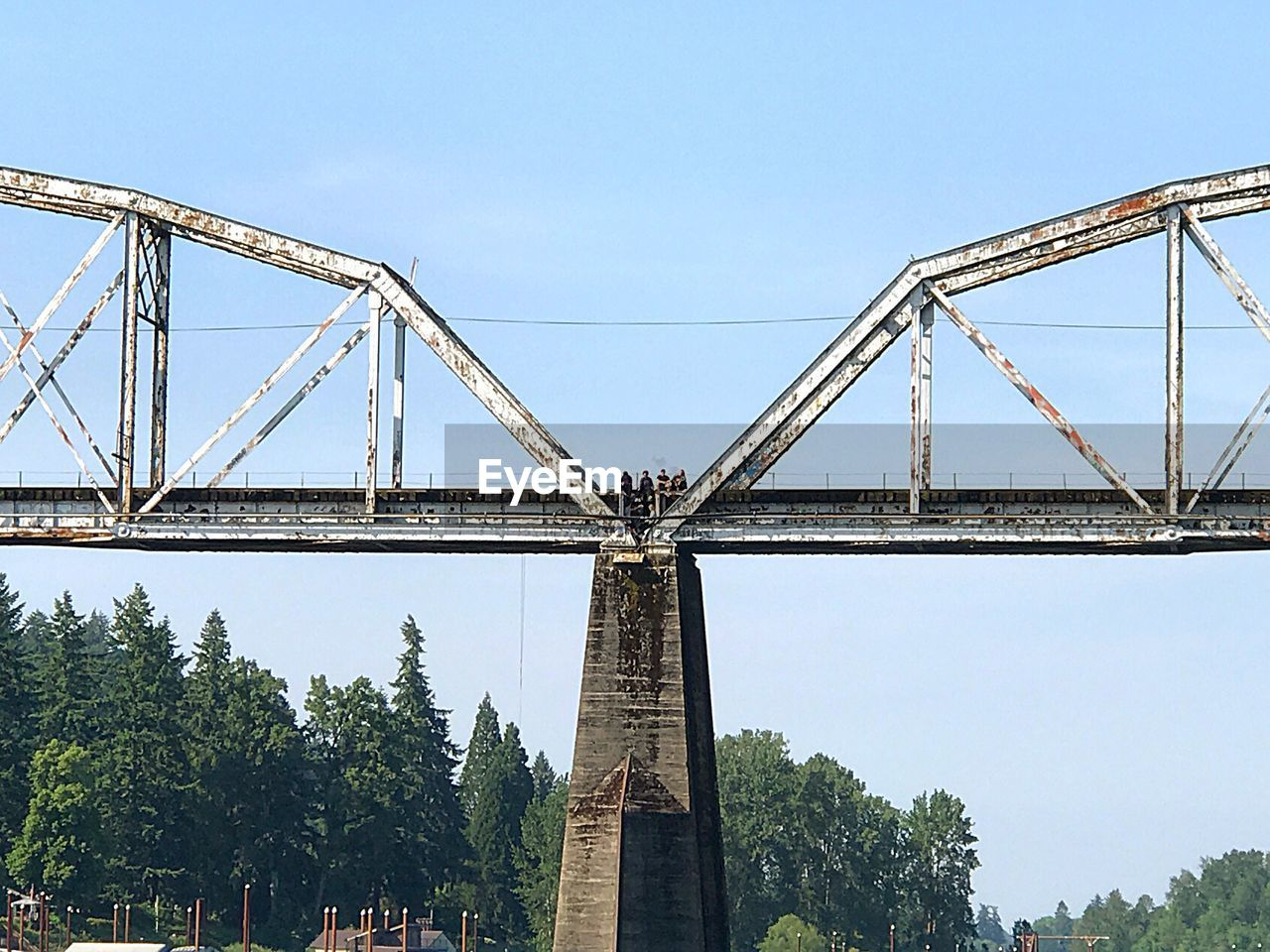bridge - man made structure, connection, engineering, built structure, architecture, low angle view, transportation, outdoors, day, tree, clear sky, sky, suspension bridge, no people, city