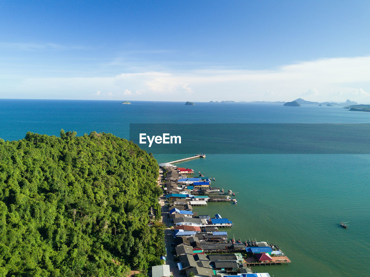 sea, water, sky, scenics - nature, high angle view, beauty in nature, day, horizon over water, nature, horizon, tranquil scene, building exterior, tranquility, built structure, architecture, no people, cloud - sky, tree, blue, outdoors