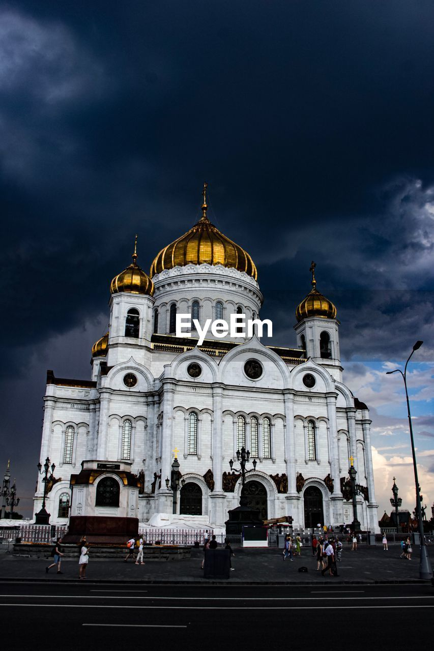 sky, architecture, building exterior, built structure, cloud - sky, religion, dome, travel destinations, travel, spirituality, nature, belief, place of worship, incidental people, tourism, low angle view, outdoors
