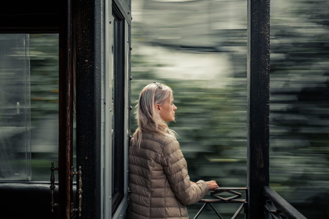 Woman Traveling On A Train