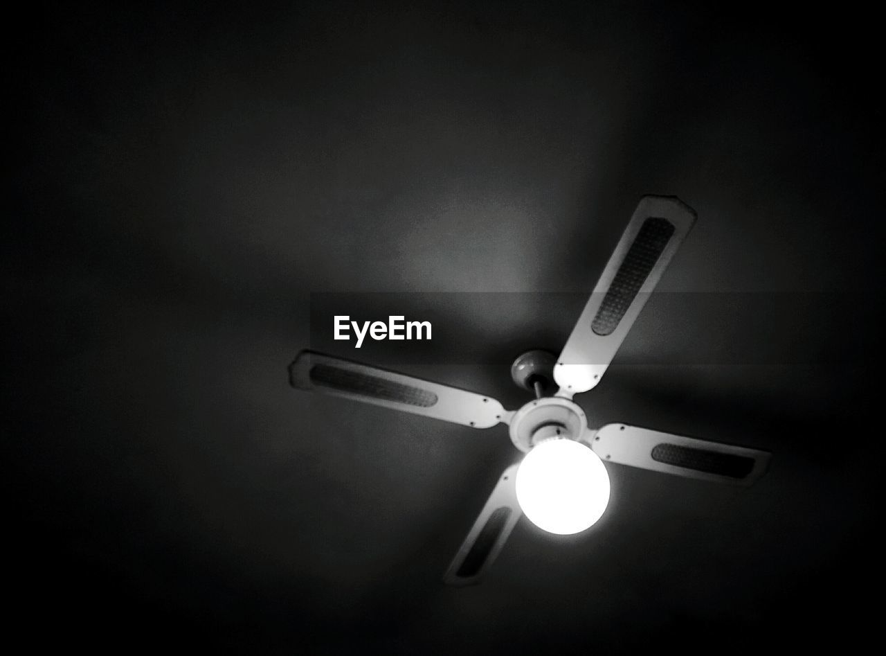 electricity, lighting equipment, illuminated, indoors, light bulb, no people, ceiling, ceiling fan, low angle view, technology, close-up