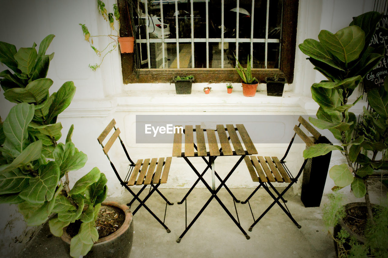 no people, plant, seat, potted plant, nature, table, chair, leaf, plant part, day, high angle view, food and drink, absence, architecture, vegetable, front or back yard, window, growth, outdoors, houseplant, setting