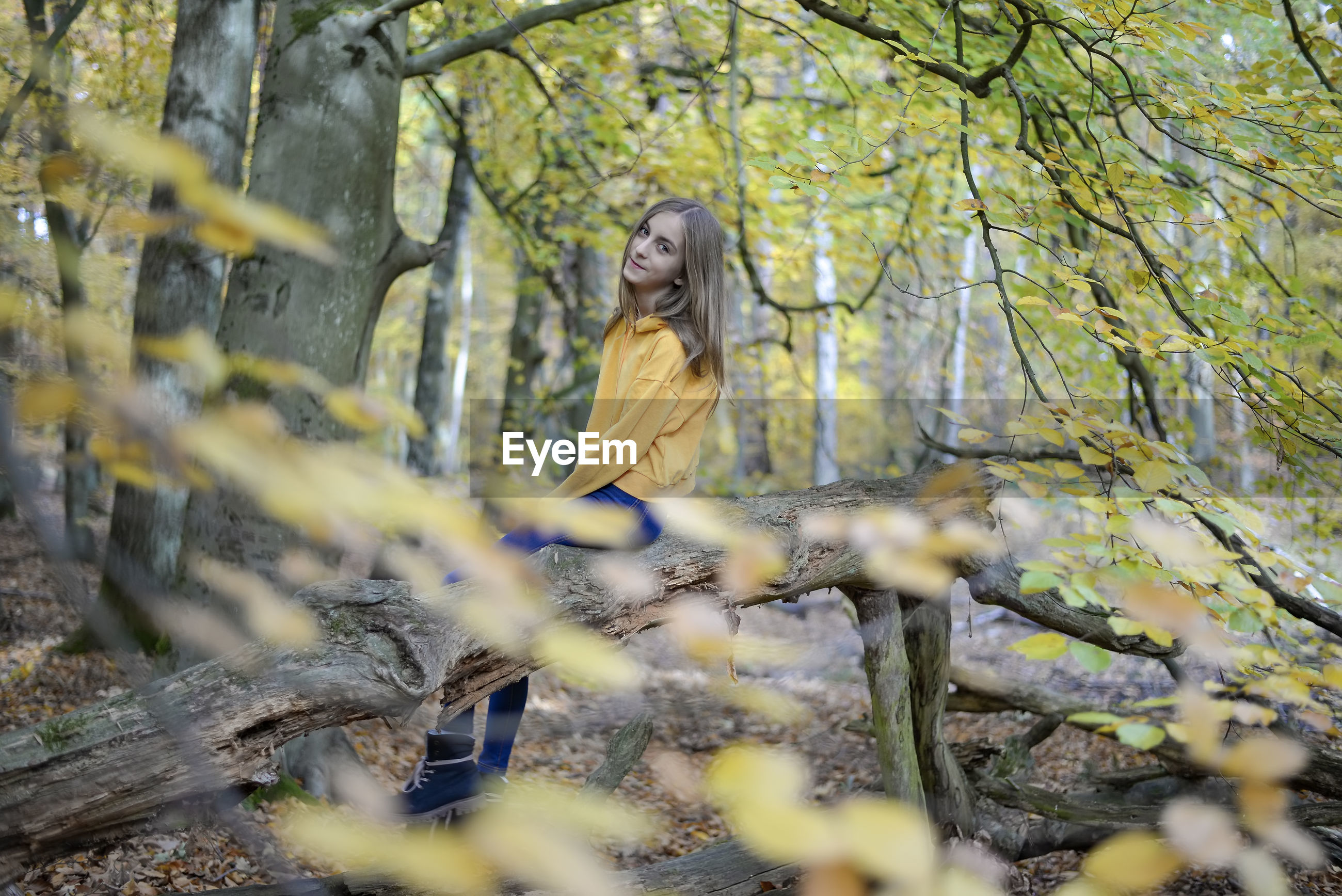 Portrait of girl sitting on tree trunk in forest
