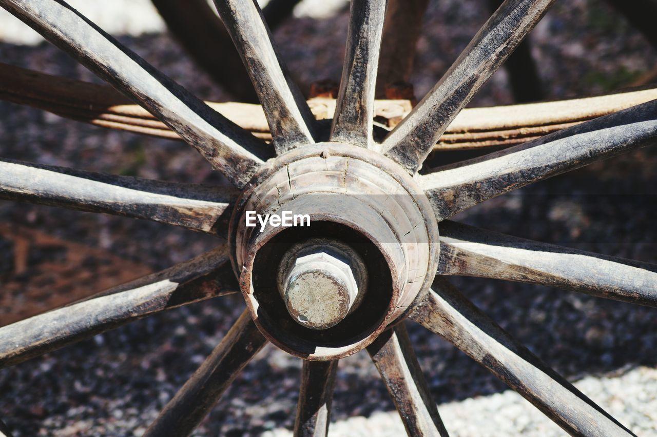Full Frame Shot Of Wagon Wheel During Sunny Day