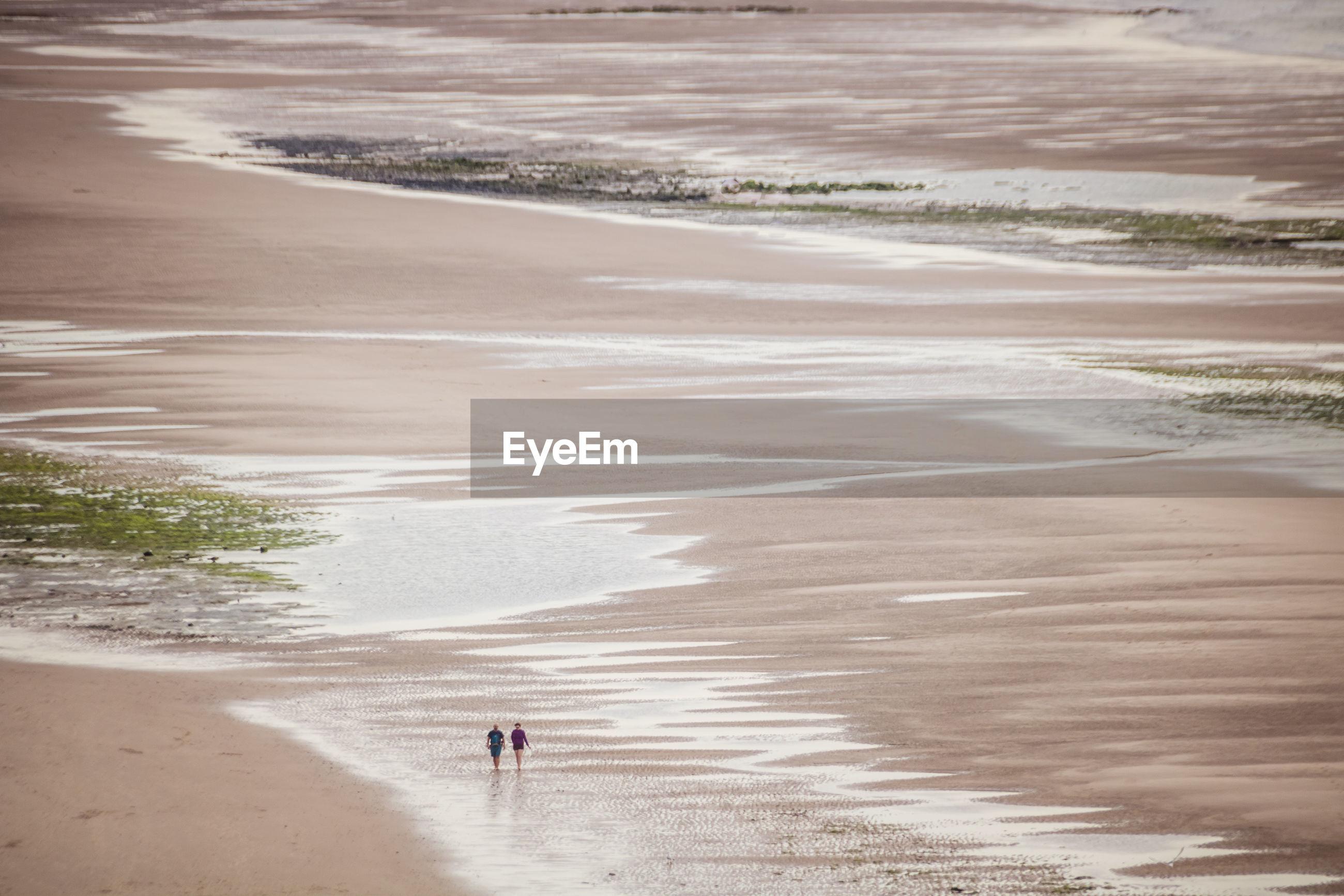 Aerial view of people walking at beach