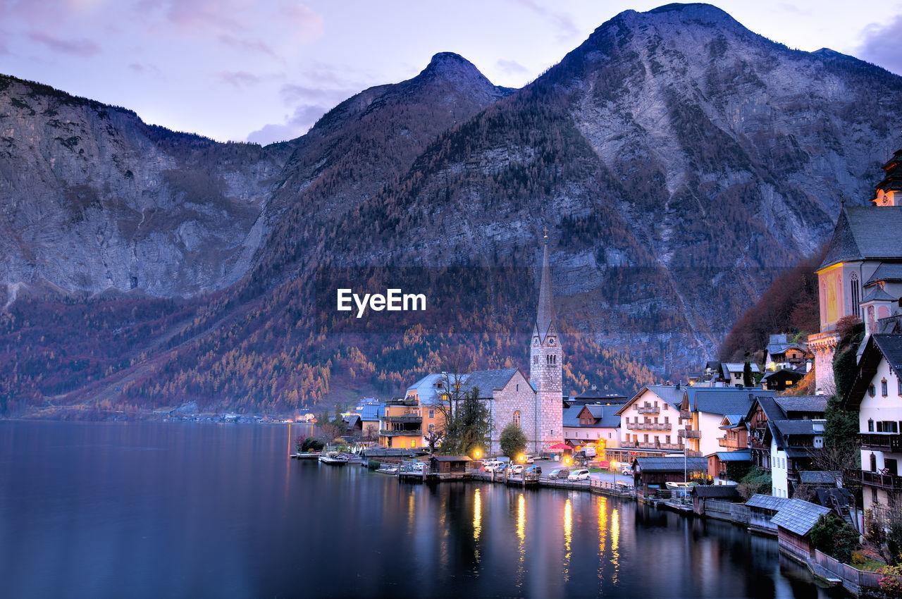 Scenic View Of Mountain Village In Austria