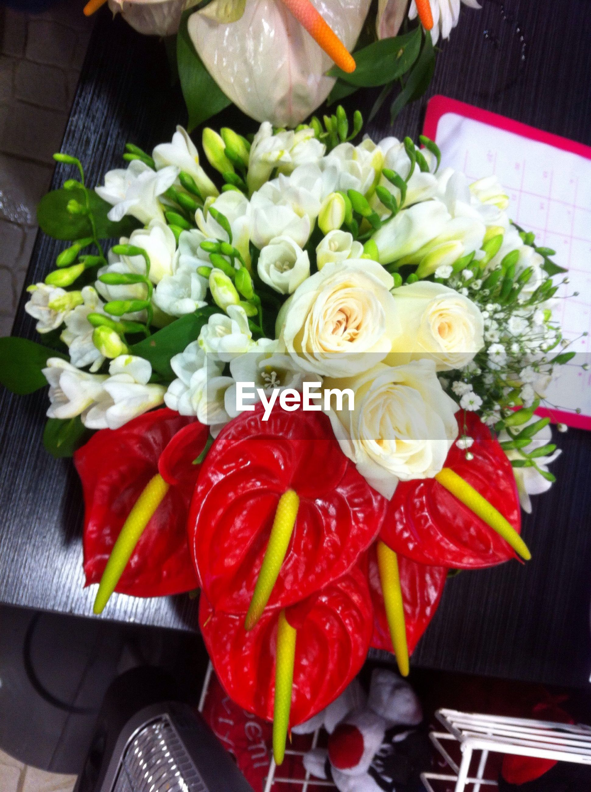 freshness, indoors, flower, high angle view, food, food and drink, table, bouquet, still life, petal, variation, close-up, vegetable, healthy eating, red, directly above, fragility, no people, vase, bunch of flowers