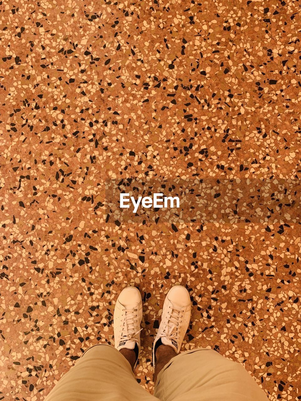 low section, shoe, human leg, human body part, body part, standing, one person, personal perspective, real people, men, directly above, land, high angle view, lifestyles, human foot, day, nature, sand, adult, shorts, human limb