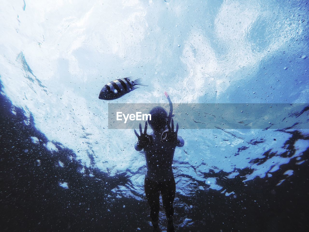 Low angle view of scuba diver gesturing in sea