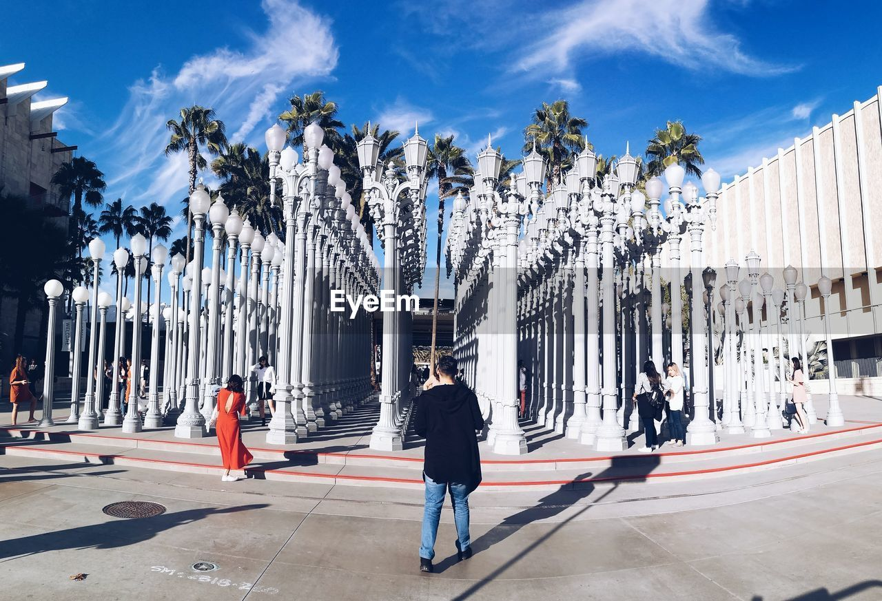REAR VIEW OF PEOPLE WALKING BY PALM TREES