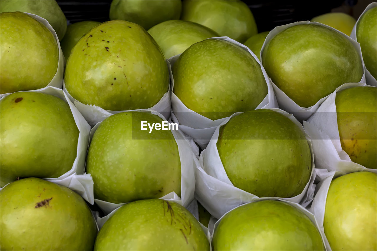 Close-Up Of Apples For Sale At Market