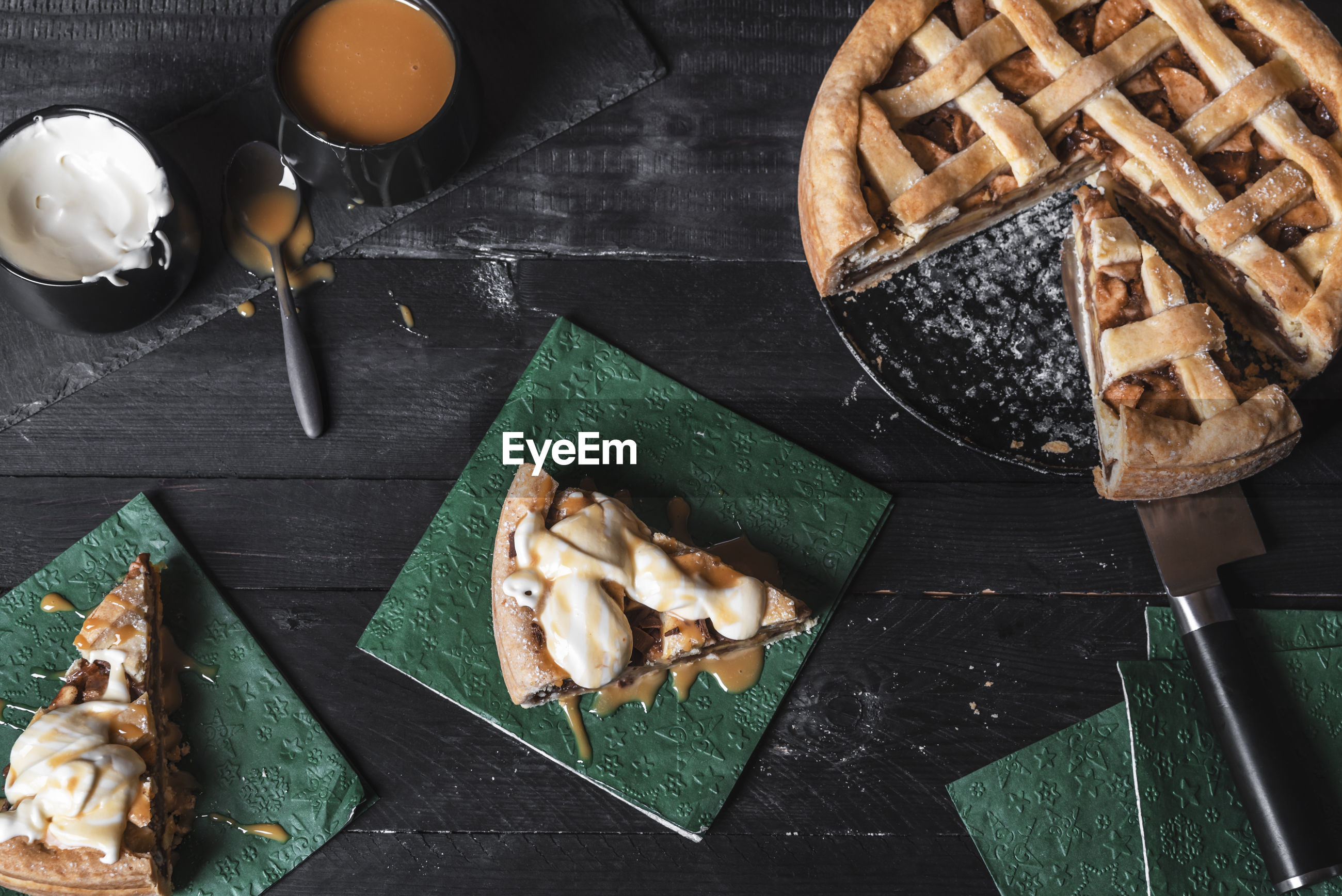 High angle view of pie on table