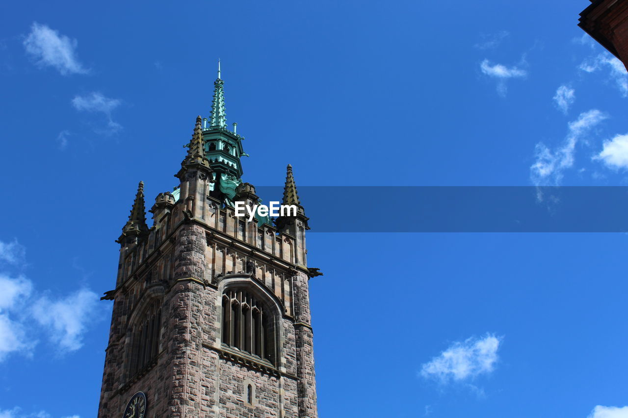 sky, building exterior, low angle view, built structure, architecture, blue, cloud - sky, tower, building, nature, no people, spirituality, religion, place of worship, belief, day, the past, history, tall - high, clock, spire