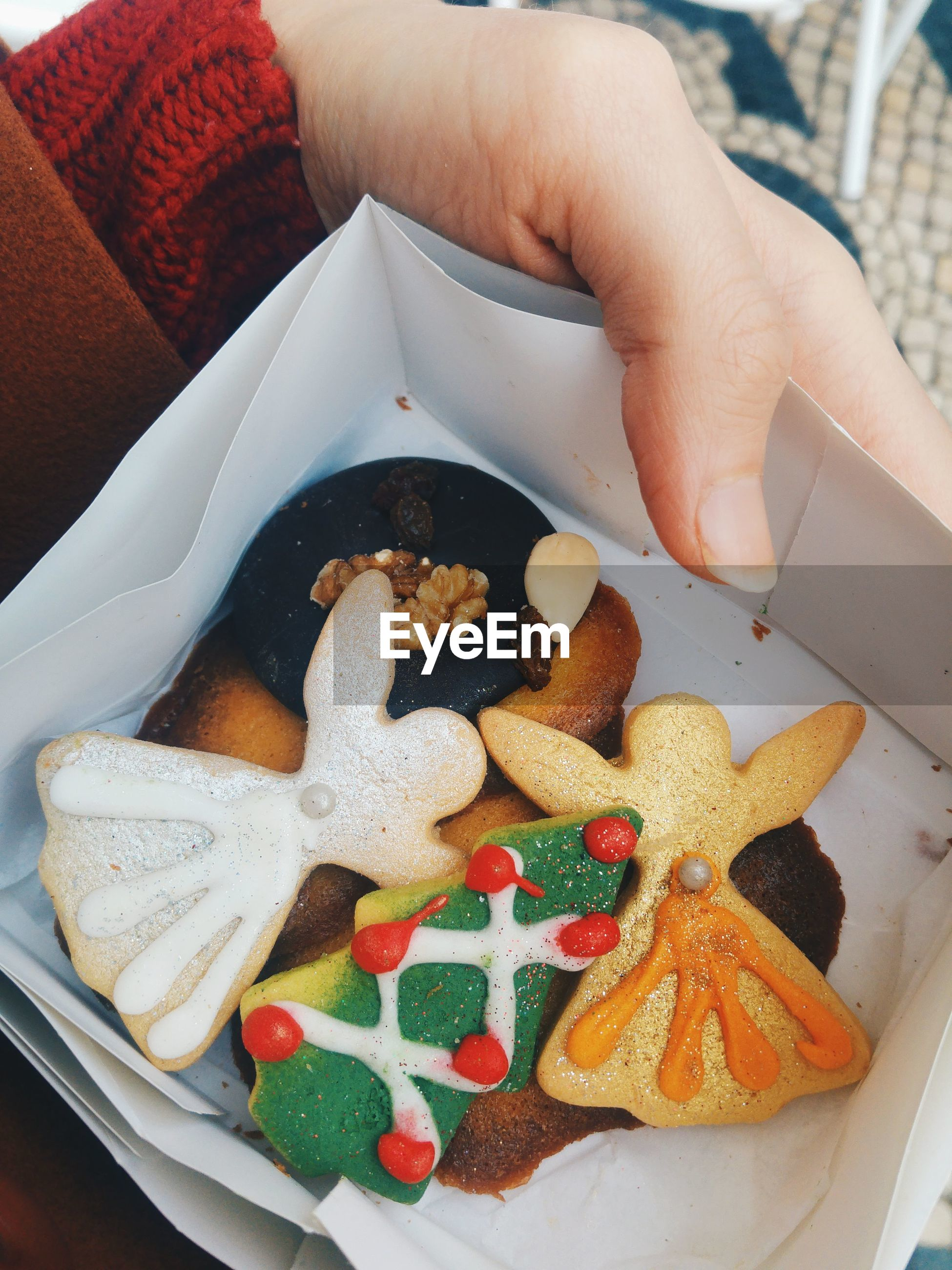 Cropped image of hand holding christmas cookies in paper plate