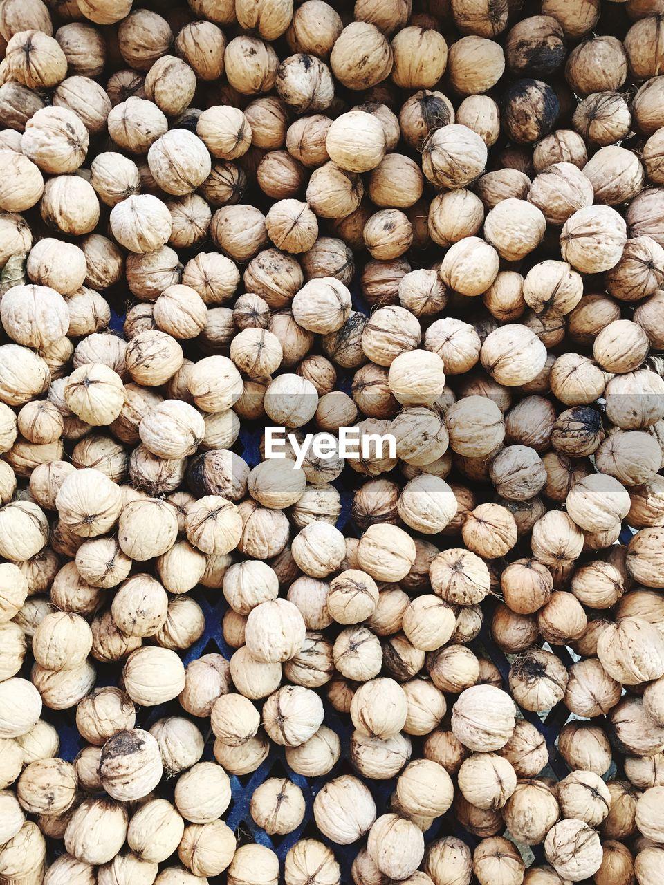 Full frame shot of walnuts for sale