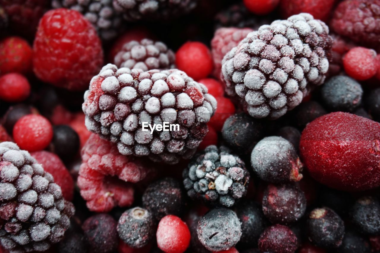 High Angle View Of Berry Fruits