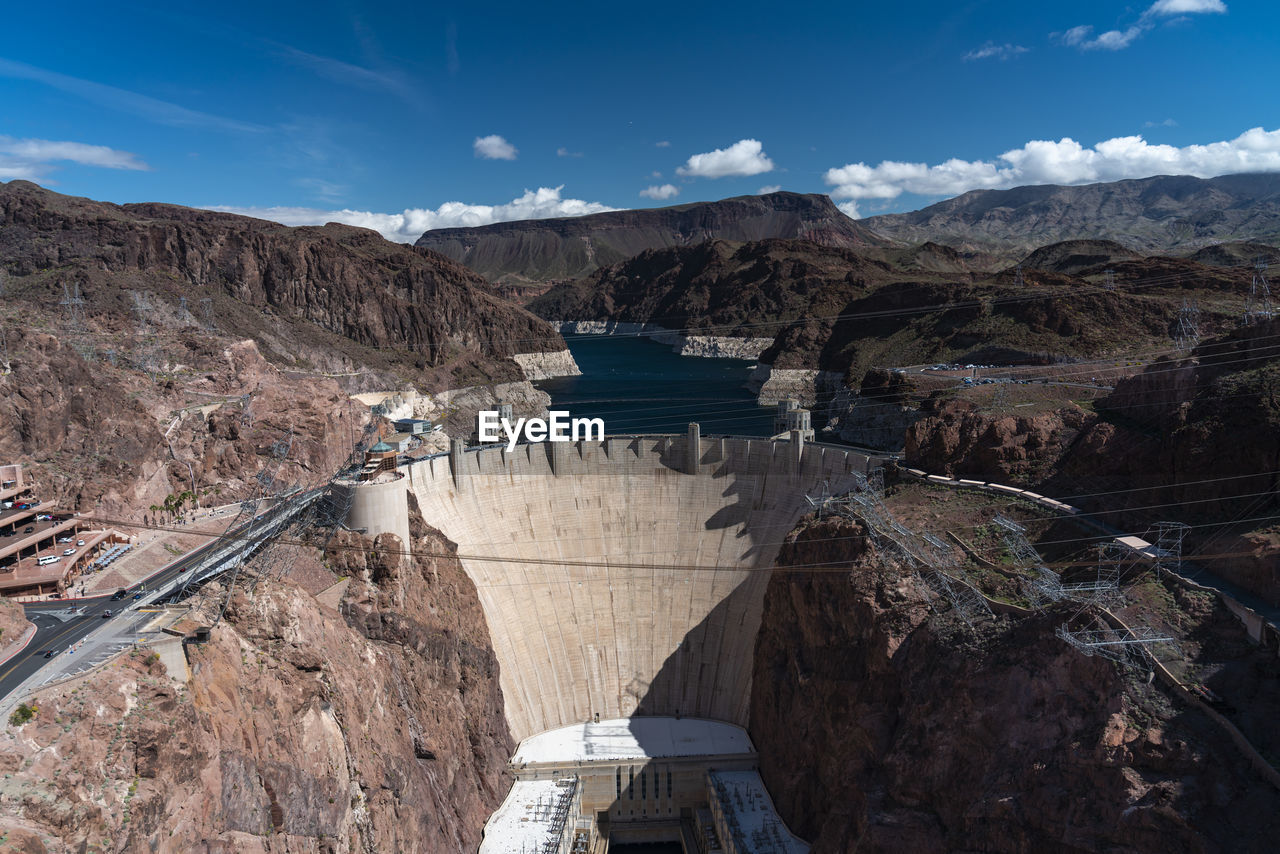 Panoramic view of dam against sky