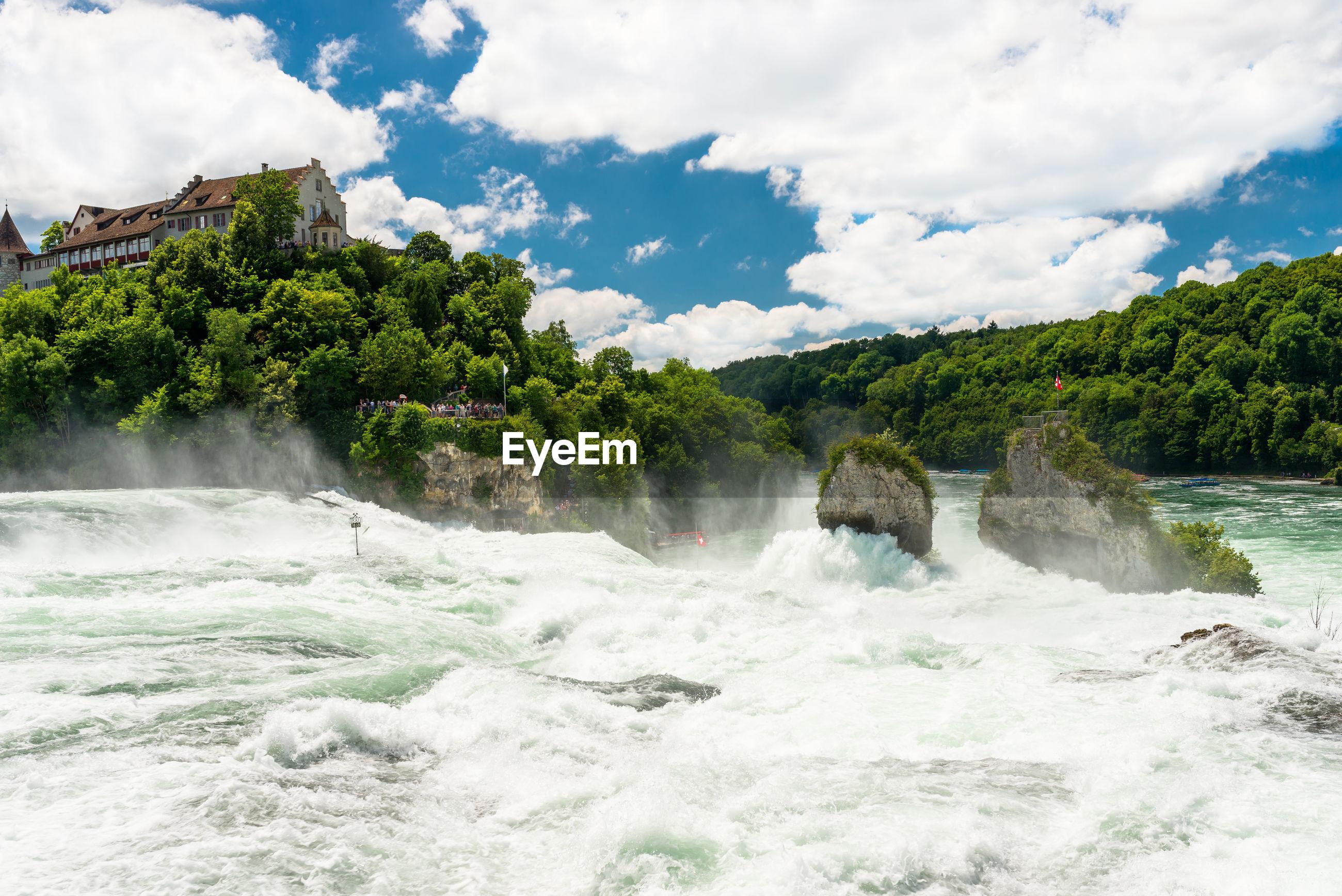 A beautiful waterfall on the river rhine in the city neuhausen am rheinfall in northern switzerland.