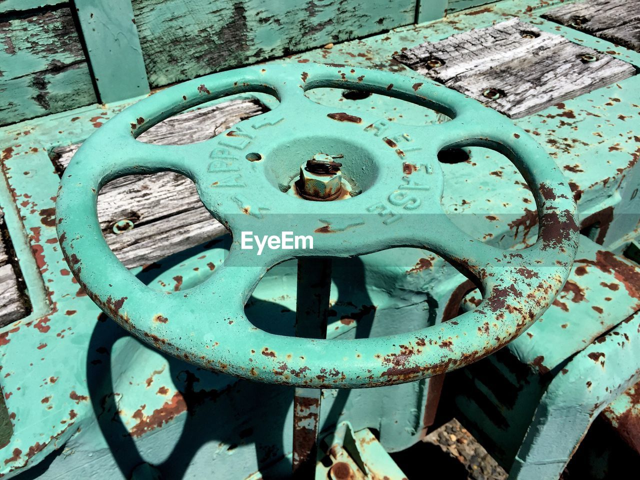 High Angle View Of Rusty Valve