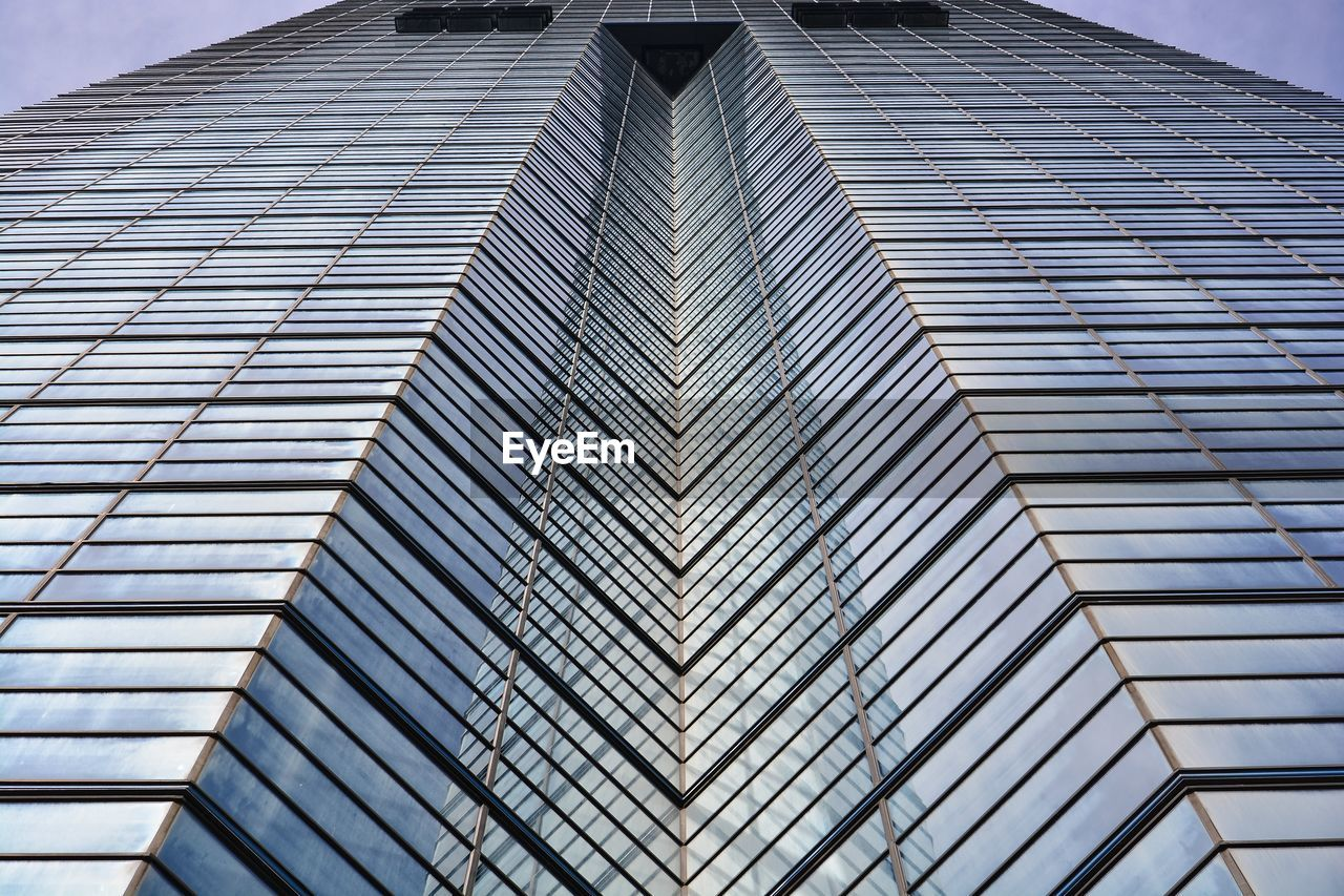 architecture, built structure, low angle view, building exterior, modern, building, office building exterior, pattern, day, no people, city, office, glass - material, sky, reflection, skyscraper, tall - high, tower, window, outdoors, directly below, ceiling
