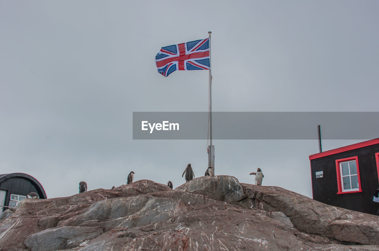 Low angle view of british flag waving on rock formations by post office at port lockroy