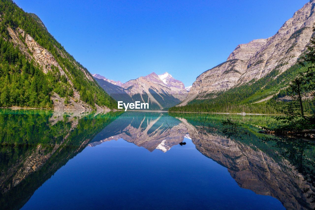 water, scenics - nature, mountain, tranquil scene, tranquility, lake, beauty in nature, sky, reflection, nature, blue, idyllic, waterfront, mountain range, symmetry, day, non-urban scene, clear sky, no people, outdoors