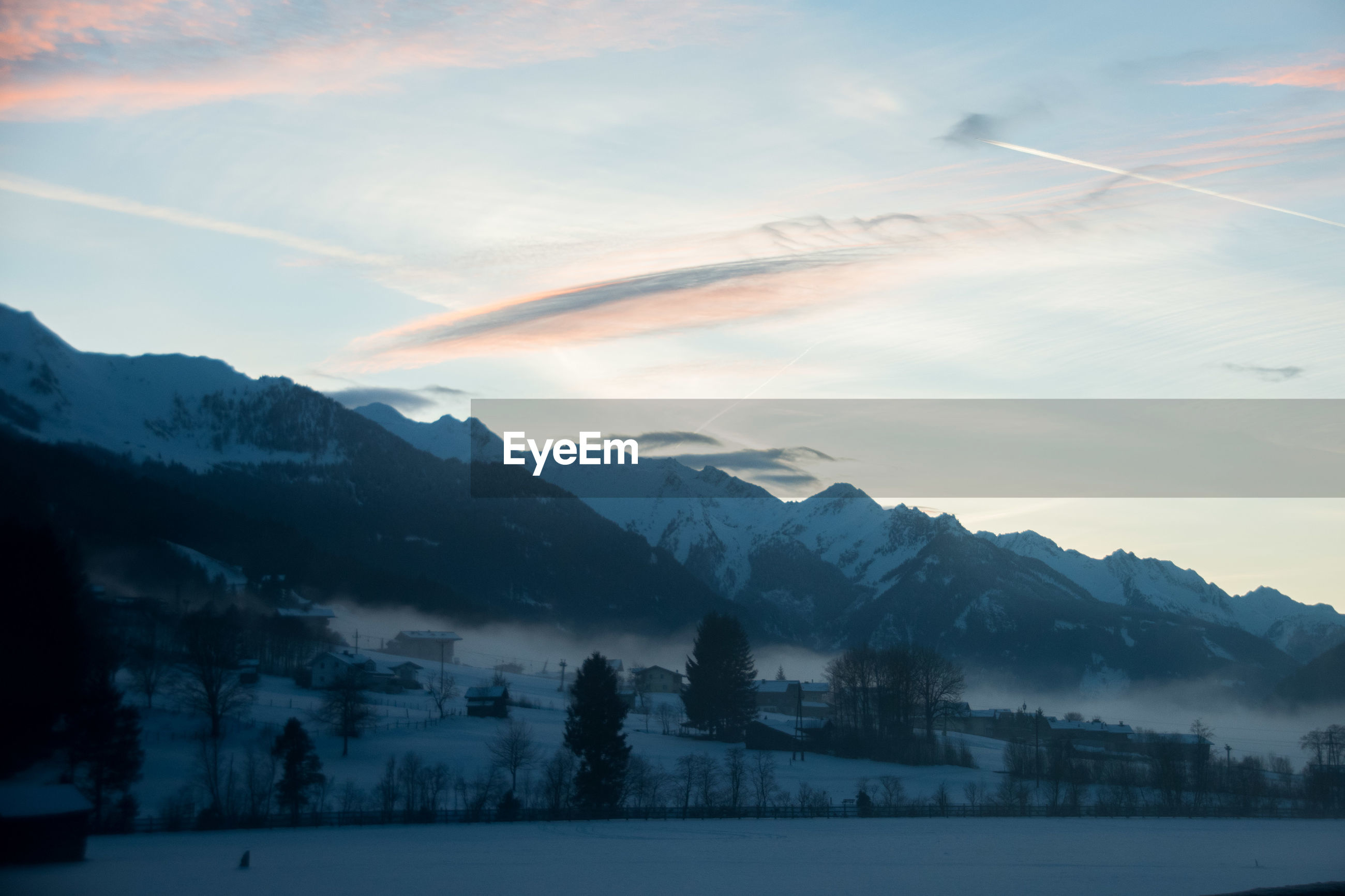 winter, cold temperature, mountain, snow, beauty in nature, sky, scenics - nature, cloud - sky, nature, tranquil scene, mountain range, tranquility, tree, environment, no people, plant, covering, idyllic, sunset, snowcapped mountain, outdoors