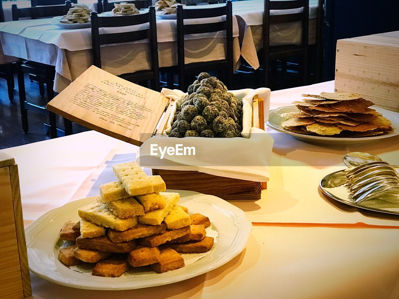 VARIETY OF FOOD IN TRAY ON TABLE