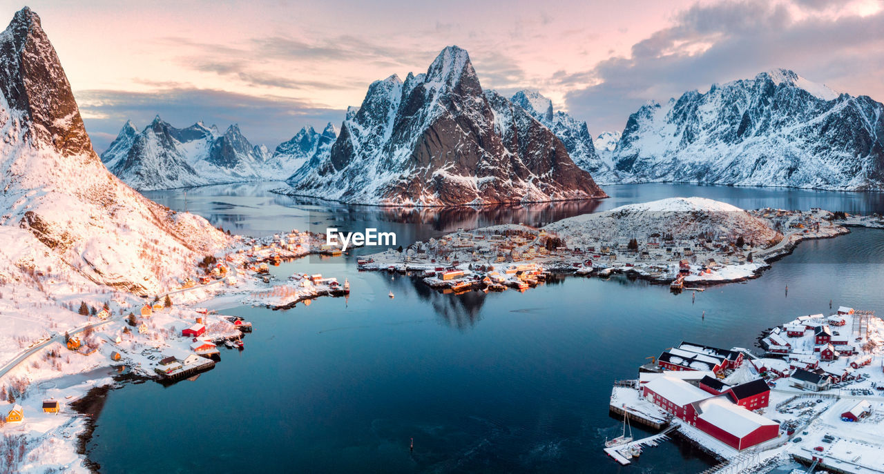 water, cold temperature, scenics - nature, beauty in nature, snow, mountain, winter, mountain range, sky, cloud - sky, tranquil scene, nature, tranquility, no people, environment, snowcapped mountain, idyllic, waterfront, ice, outdoors, mountain peak