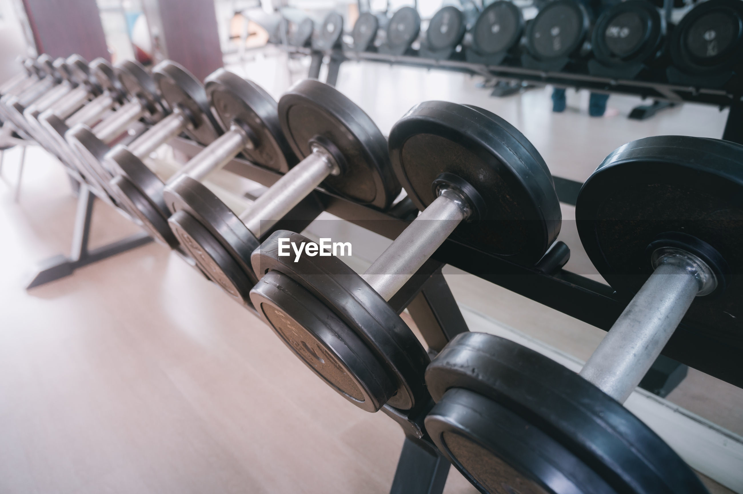 Dumbbells in row at gym