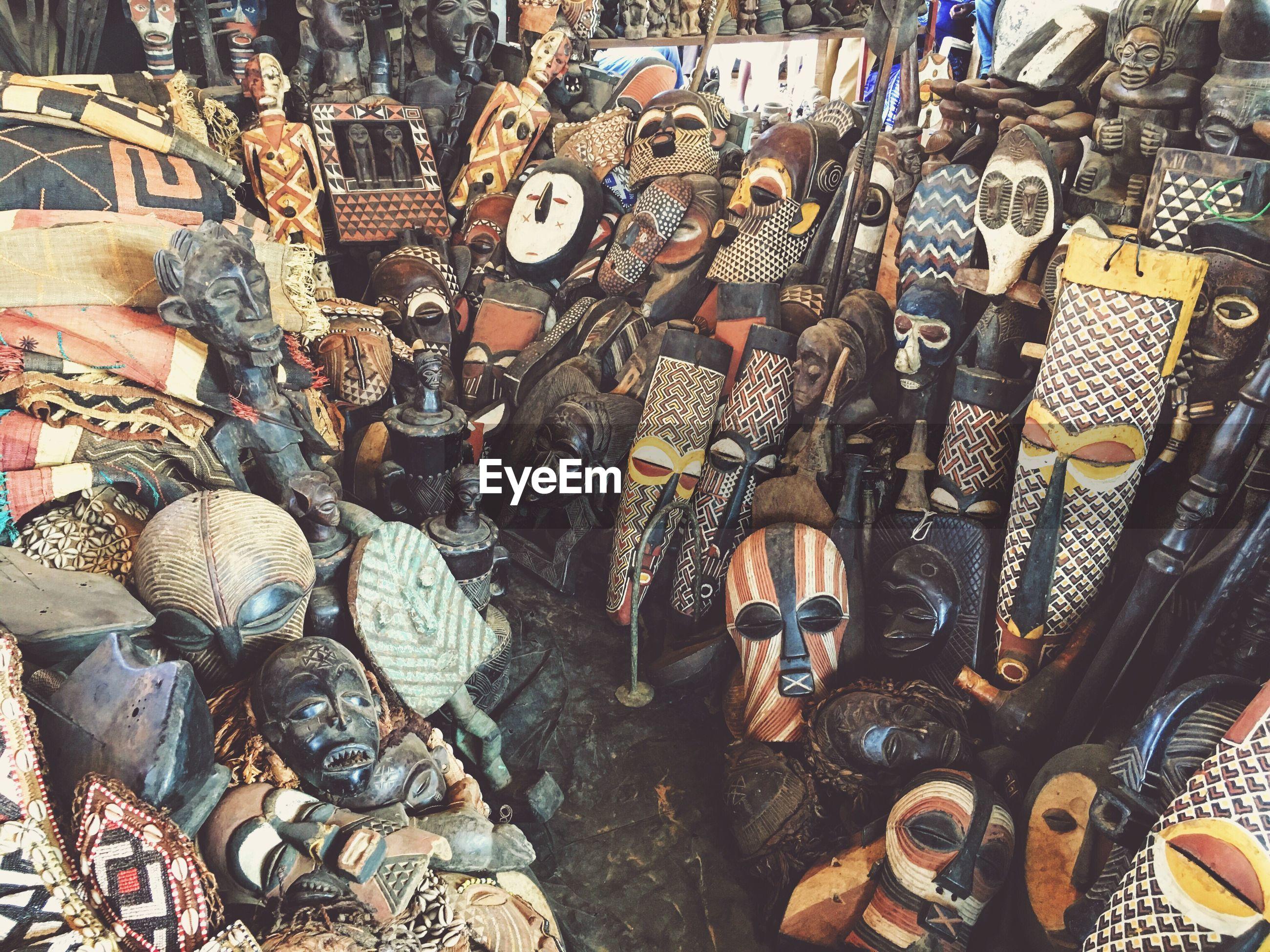 Masks in antique shop