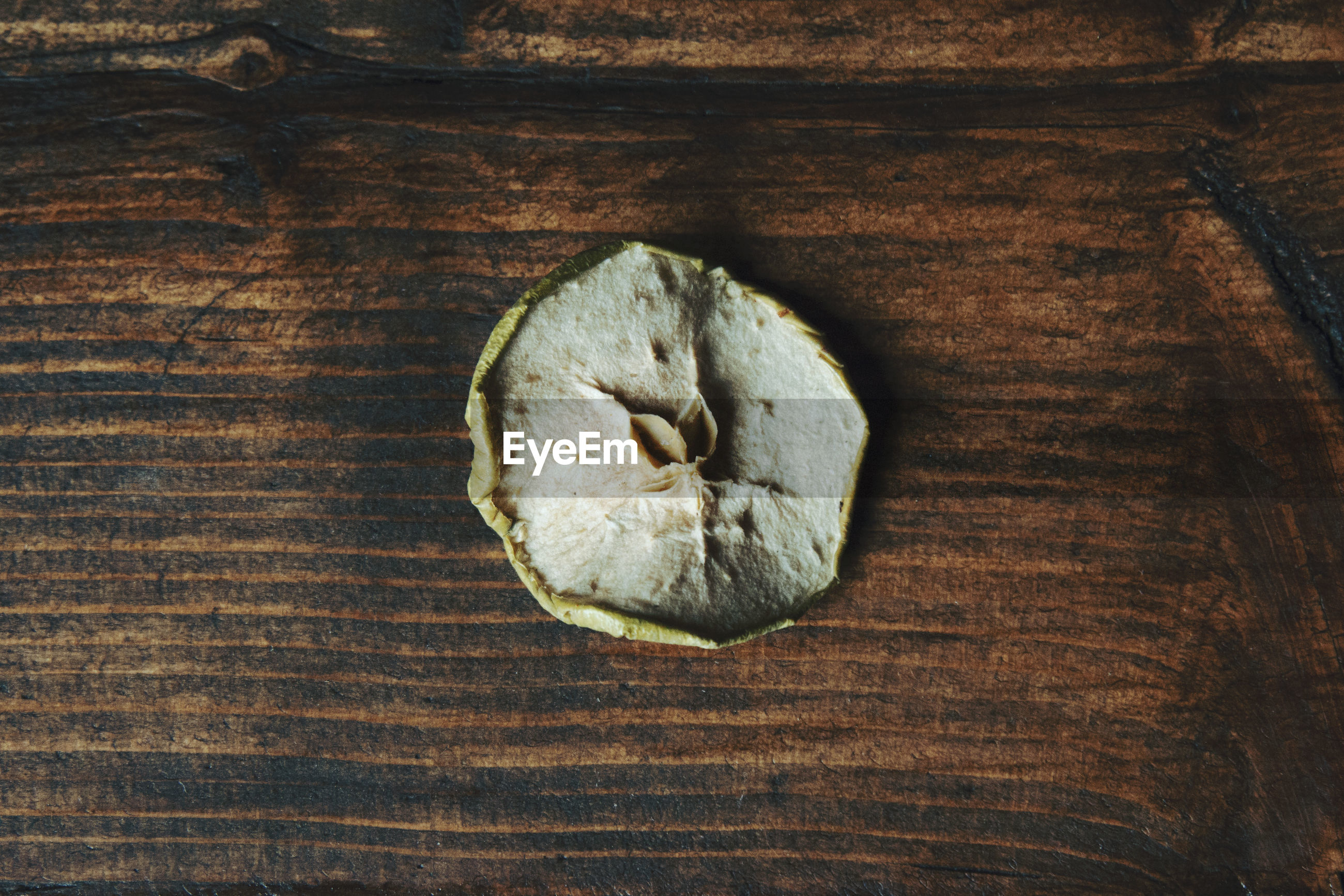 High angle view of dried apple on table