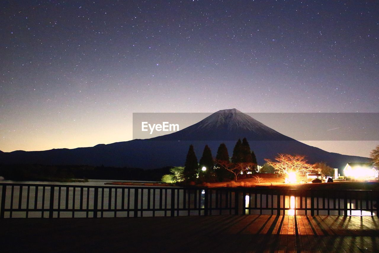 Scenic View Of Mt Fuji Against Star Field