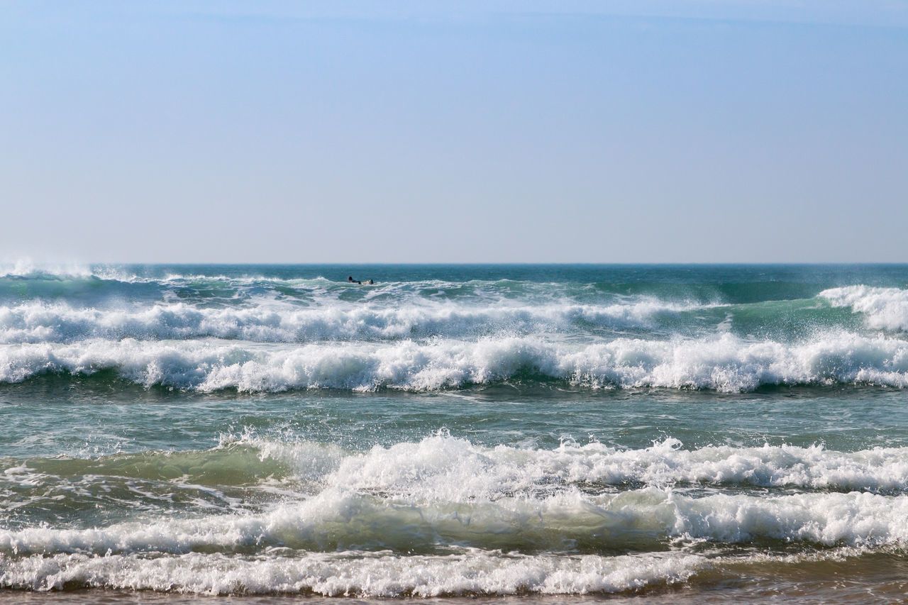 sea, water, wave, horizon over water, motion, sport, horizon, beauty in nature, aquatic sport, scenics - nature, surfing, sky, clear sky, nature, copy space, day, beach, land, outdoors, power in nature