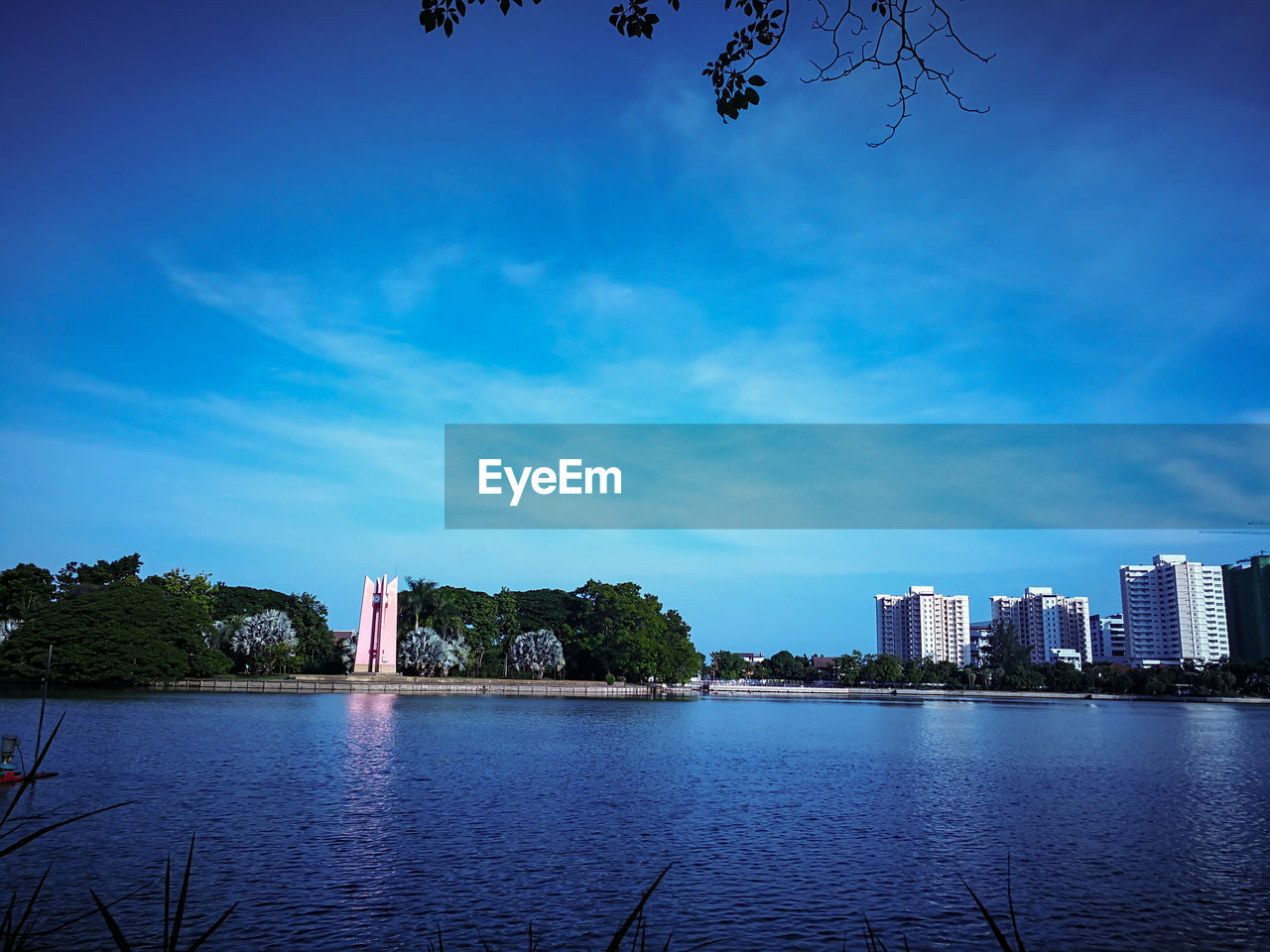 architecture, building exterior, built structure, water, sky, city, waterfront, building, tree, nature, blue, plant, office building exterior, no people, tall - high, skyscraper, river, day, tower, outdoors, cityscape