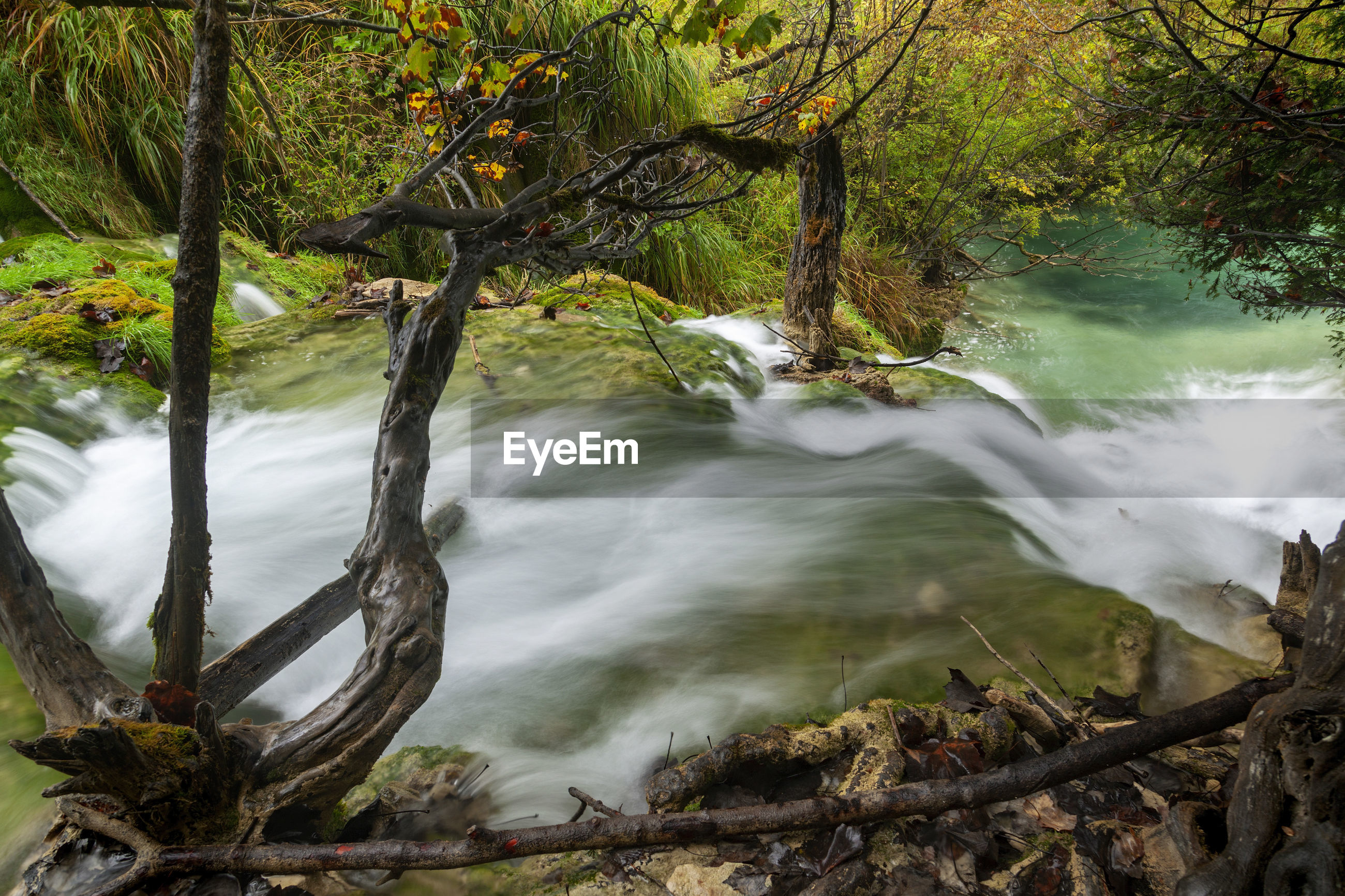 Autumn on waterfalls of the plitvice lakes, croatia