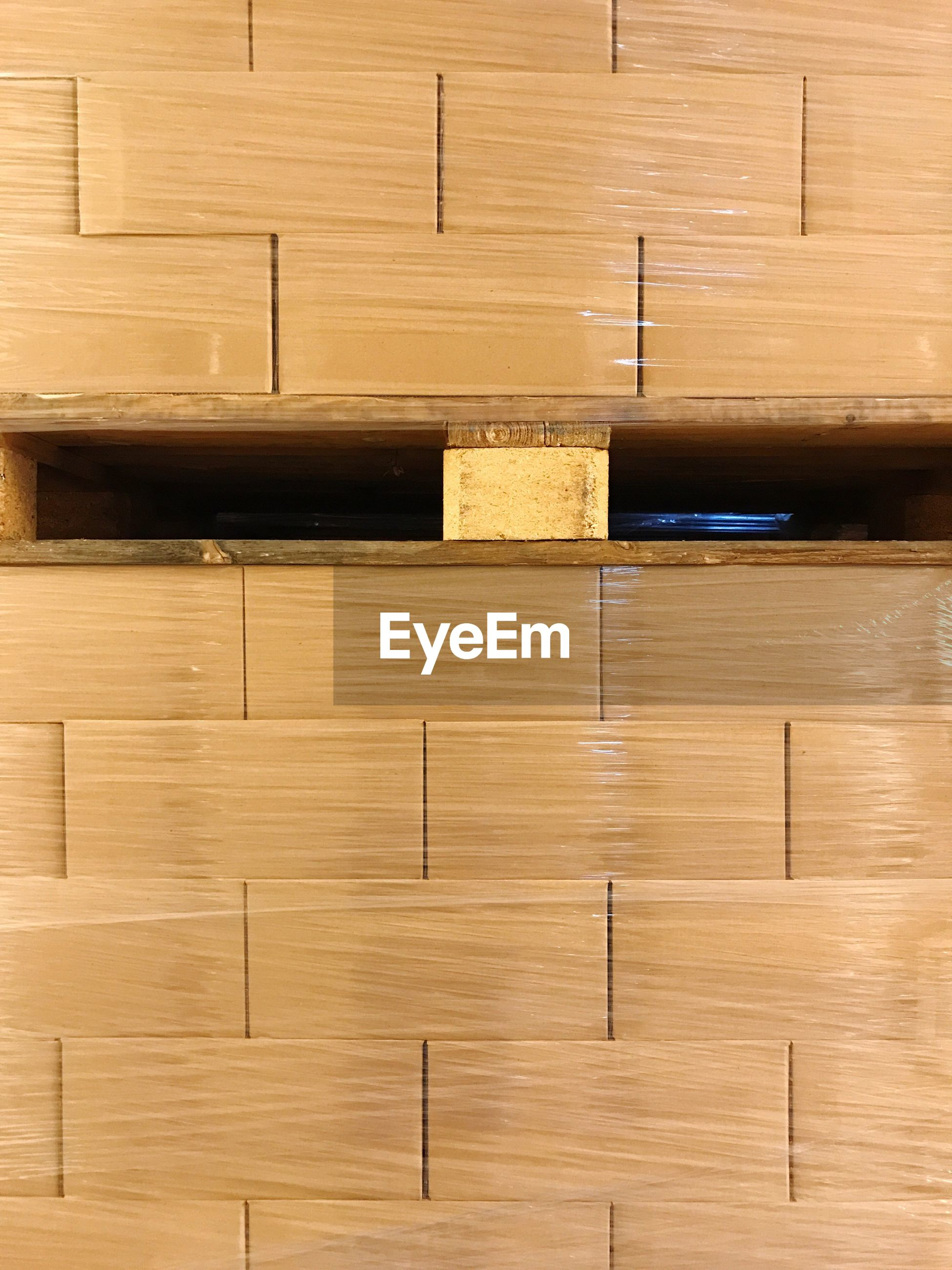Boxes stacked at storage compartment