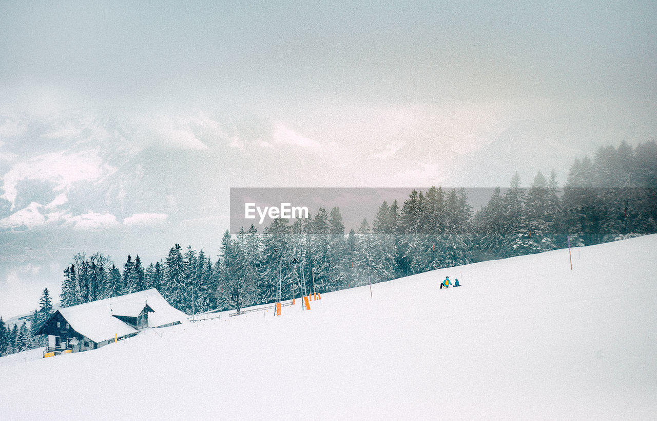 snow, winter, cold temperature, weather, nature, vacations, white color, mountain, skiing, adventure, scenics, ski holiday, sky, outdoors, tranquility, winter sport, beauty in nature, tree, tranquil scene, travel destinations, day, sport, landscape, cloud - sky, snowboarding, extreme sports, slope, no people, ski lift