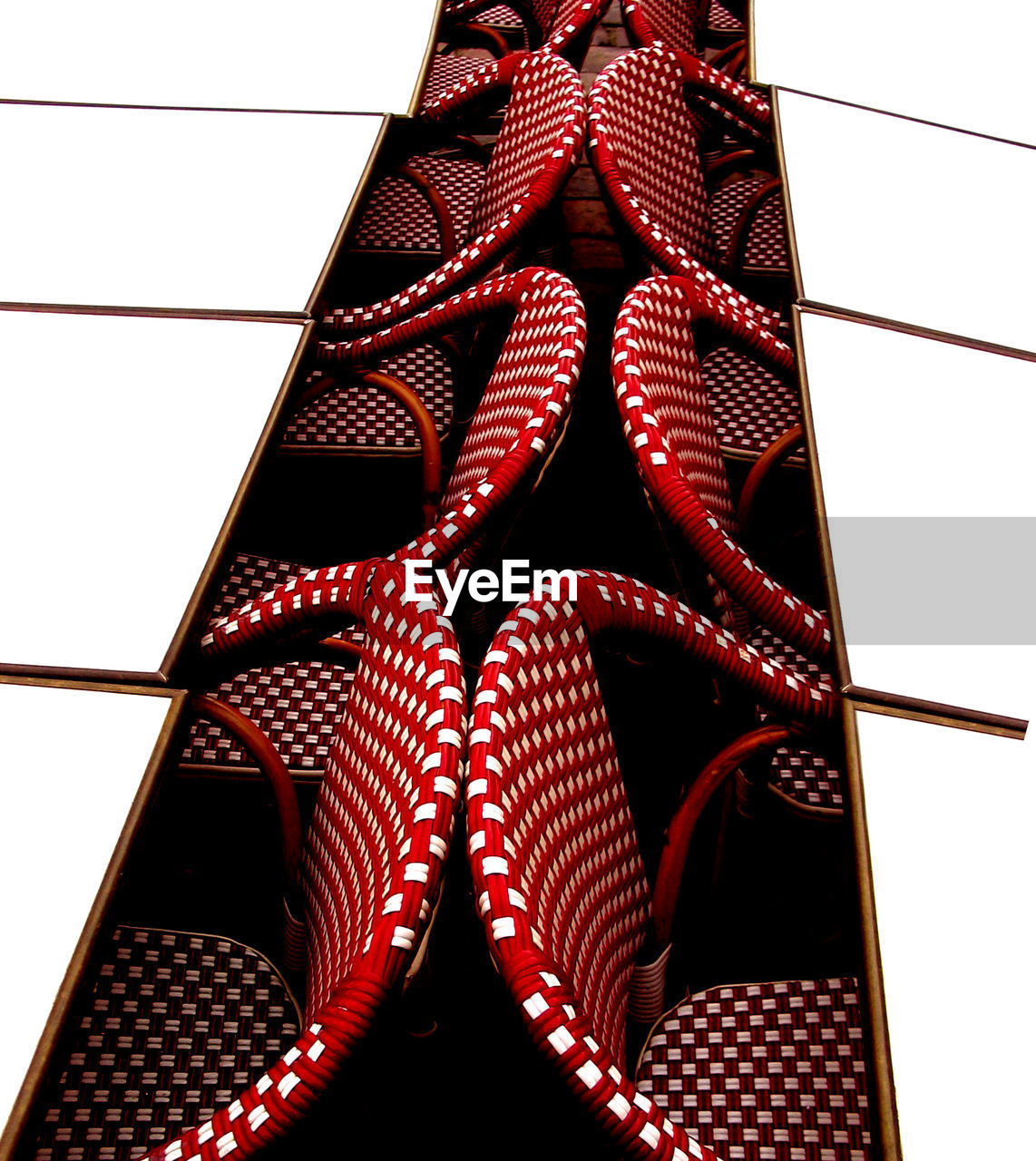 pattern, red, no people, indoors, close-up, low angle view, design, shape, built structure, architecture, still life, lighting equipment, day, geometric shape, window, repetition, studio shot, white background