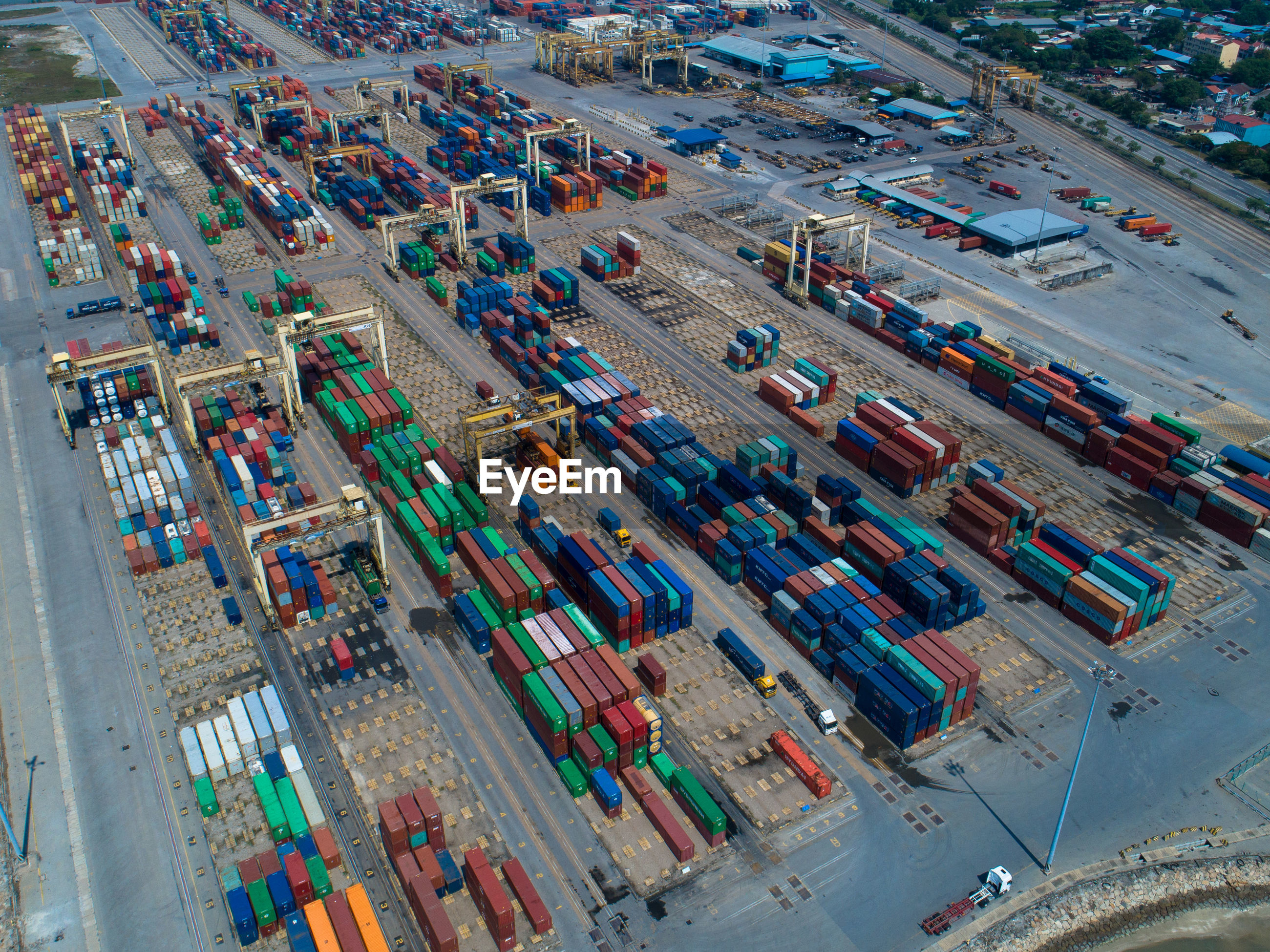 High angle view of cargo containers at harbor