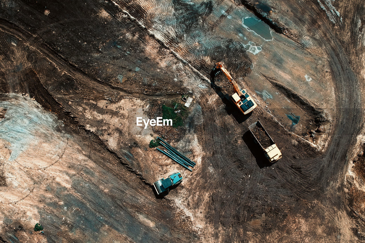 High Angle View Of Vehicles On Construction Site