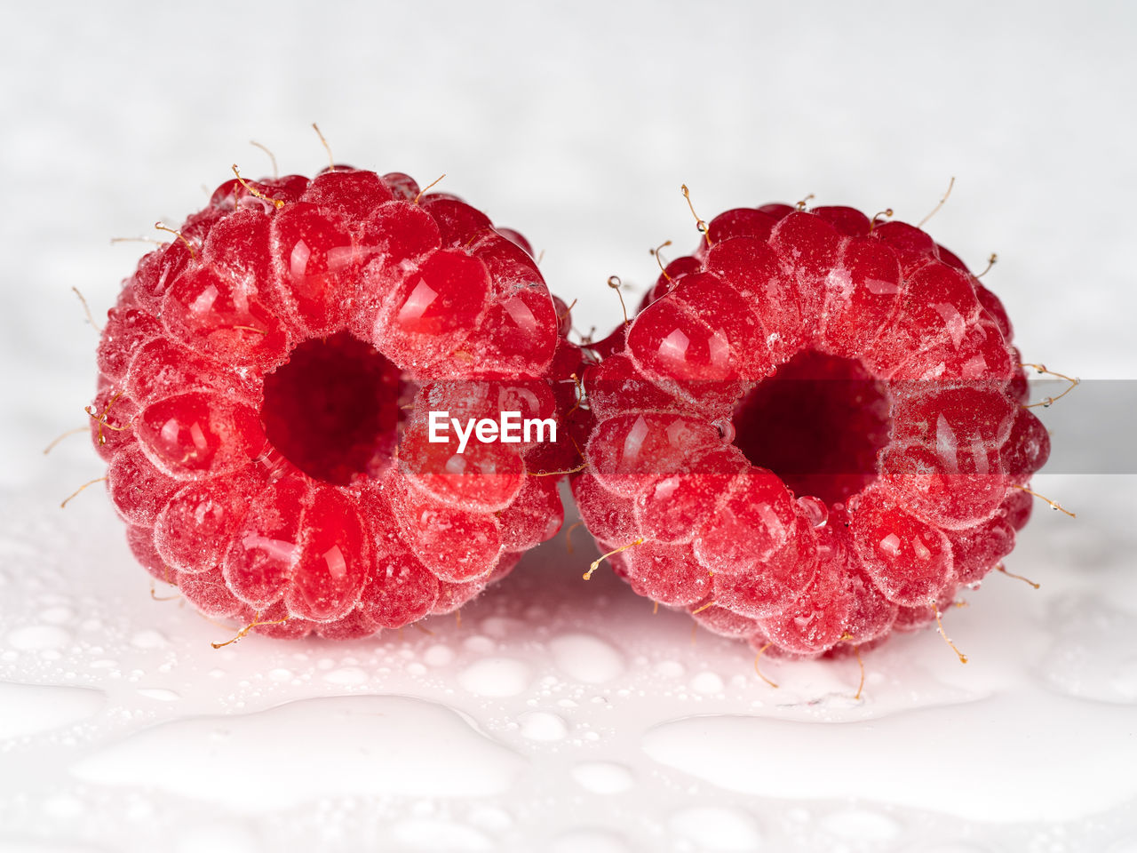 Close-up of raspberries on table