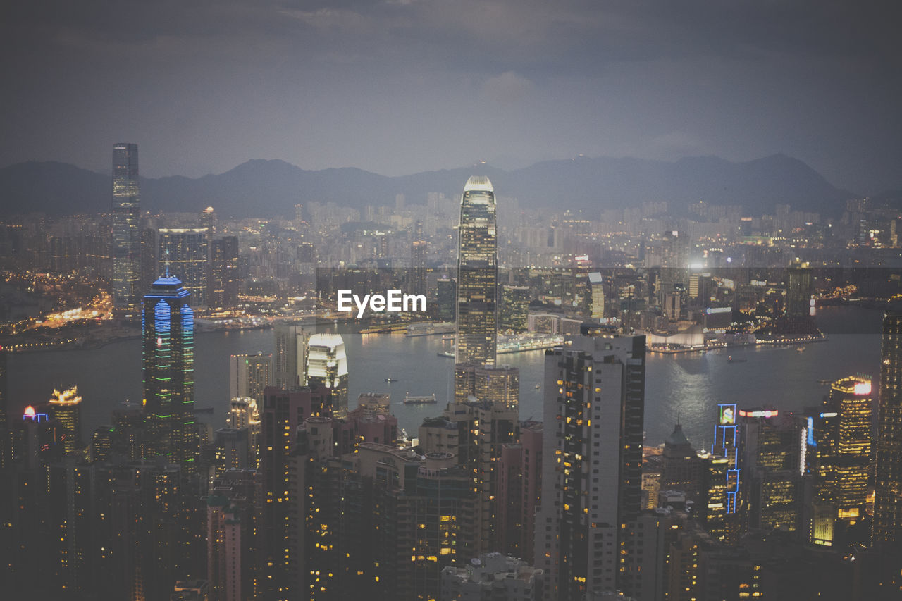 View of hong kong lit up at night from victoria peak