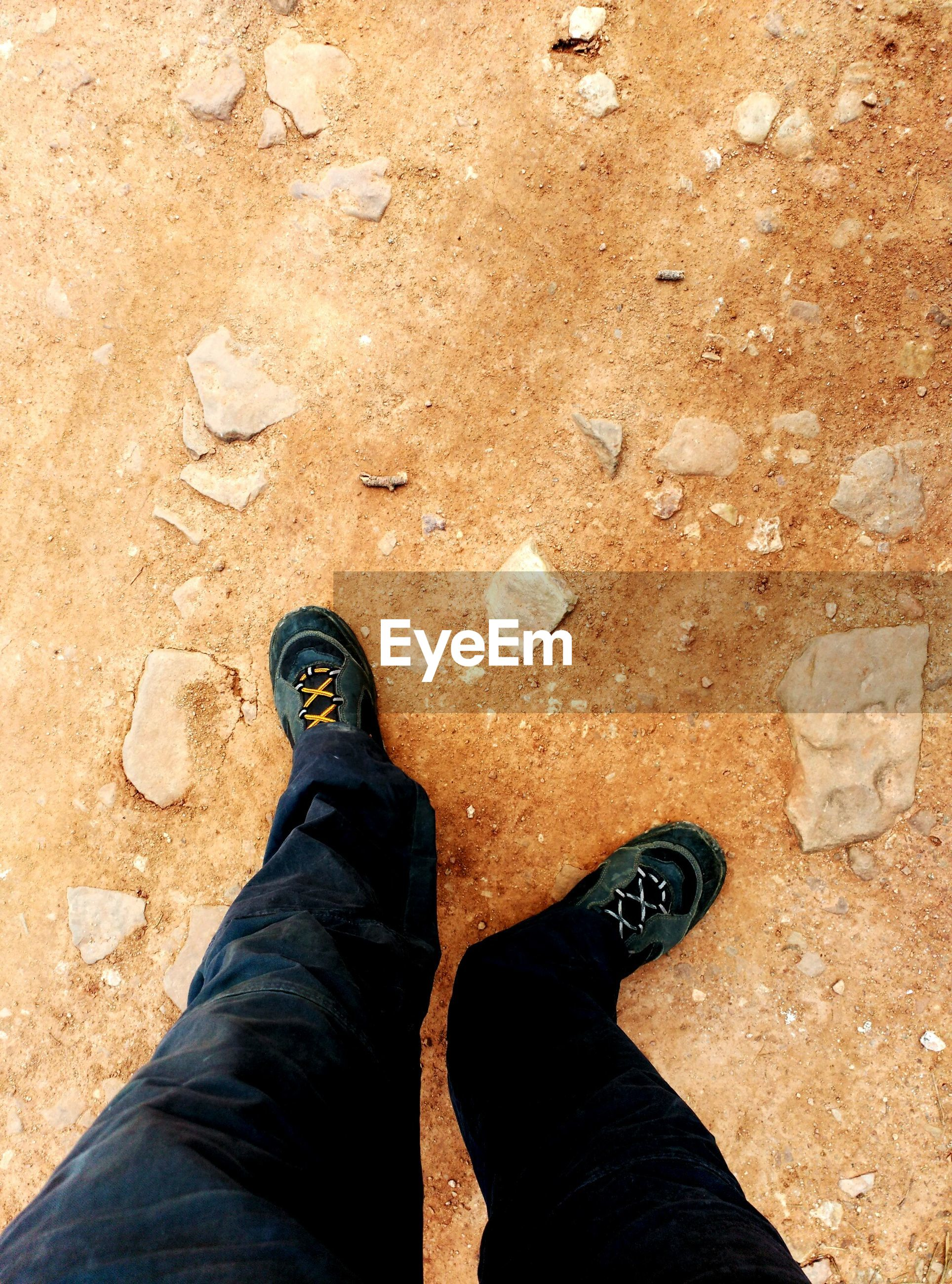 low section, person, personal perspective, shoe, standing, human foot, jeans, footwear, lifestyles, high angle view, men, leisure activity, unrecognizable person, directly above, part of, canvas shoe, day